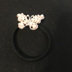 Pearl butterfly ponytail holder